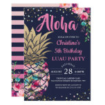 ❤️ Tropical Pink Gold Pineapple Navy Blue Birthday Invitation