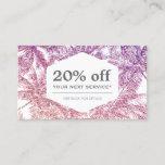 Tropical Purple/Pink Glitter Palms Discount Card