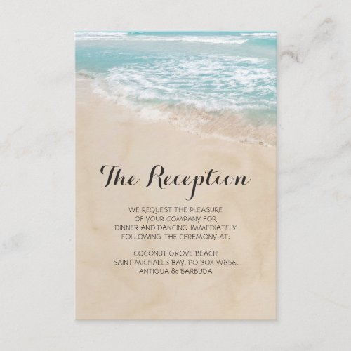 Tropical Vintage Beach Heart Wedding Reception Enclosure Card