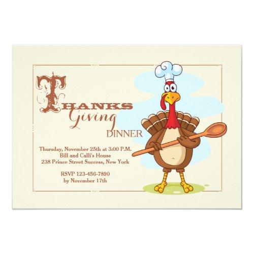 Turkey Chef Thanksgiving Invitation
