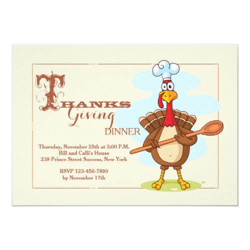 Turkey Chef Thanksgiving Invitation