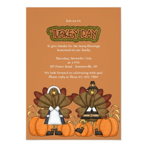 Turkey Day Thanksgiving Invitation