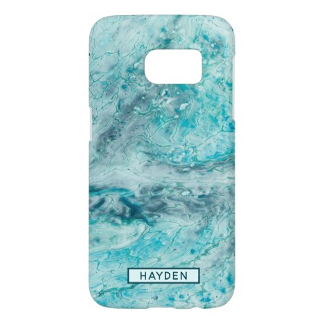 Turquoise Abstract Paint Pour Art Monogram Samsung Galaxy S7 Case