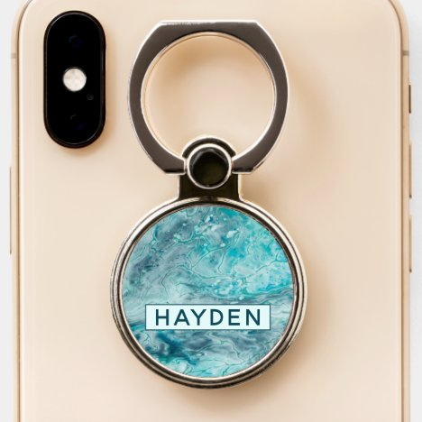 Turquoise Abstract Paint Pour Art personalized Phone Ring Stand