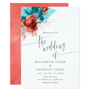 Turquoise And C Watercolor Fl Wedding Invitation