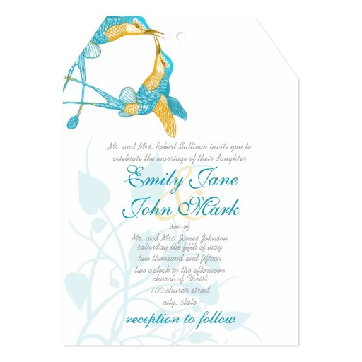 Turquoise and Yellow Hummingbird Kiss Wedding