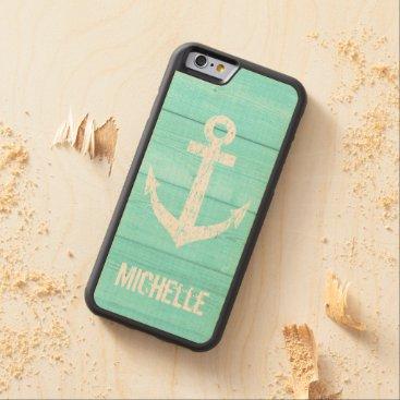 Turquoise blue nautical anchor panel iPhone 6 case