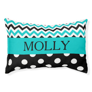 Turquoise Chevron Polka Dot (N) Small Dog Bed