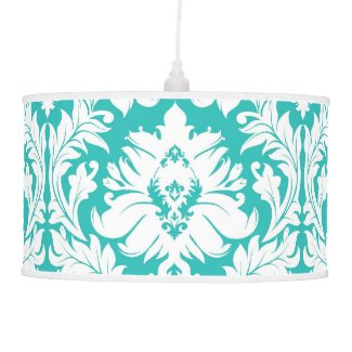 Turquoise Damask Table Lamps