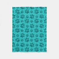 Turquoise dog paw print fleece blanket