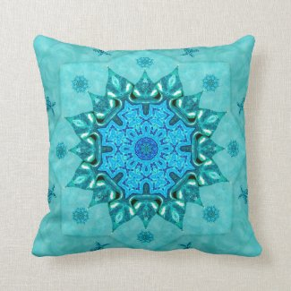 Turquoise Nature Mandala Mojo Throw Pillow