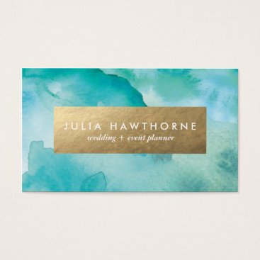 Turquoise Watercolor and Gold Faux Foil Business Card