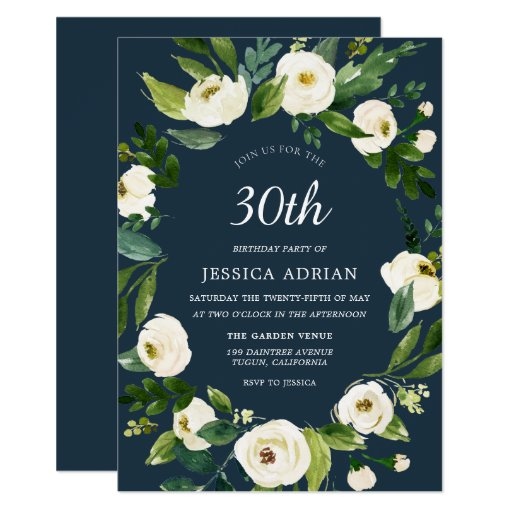 Turquoise White Flower 30th Birthday Invite
