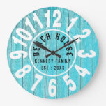 Turquoise Wood Beach House Black  Big Numbers Large Clock