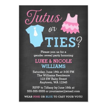 Tutus or Ties Gender Reveal Party Baby Shower Invitation