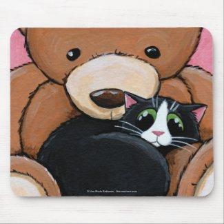 Tuxedo Cat and Big Teddy Bear | Cat Art Mousepad mousepad