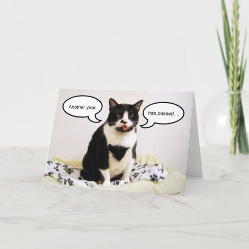 Tuxedo Cat Birthday Humor Card card