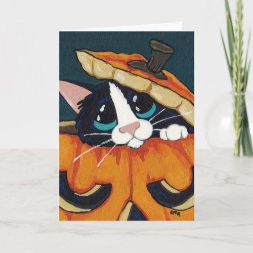 Tuxedo Cat in Halloween Pumpkin Card