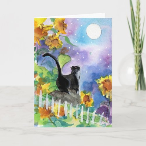 Tuxedo Cat Moon in Sunflowers Card