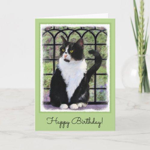 Tuxedo Cat Painting - Cute Original Cat Art Card