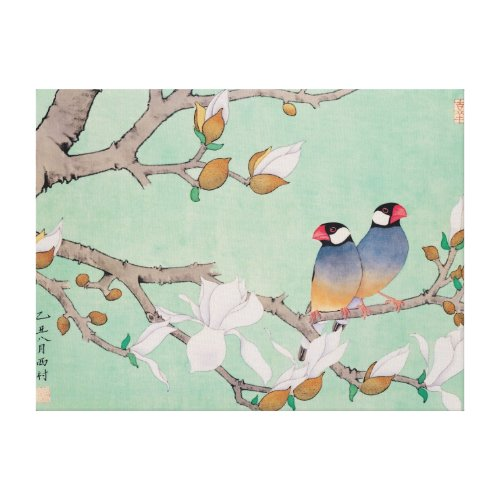 Twin Birds in the Branches Cancas wrappedcanvas