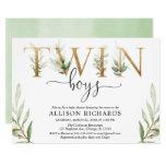 Twin boys greenery modern baby shower invitation