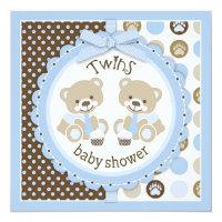 Twin Boys Teddy Bears Ties Baby Shower Card