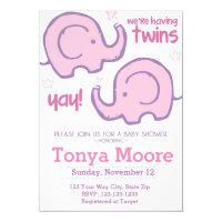 Twin Elephant Baby Shower Invitation (girls)