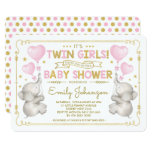 Twin Girls Elephant Baby Shower Pink Gold Jungle Invitation