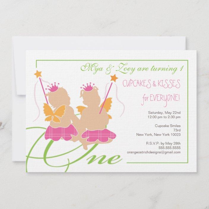 twin girls first birthday party invitation zazzle com