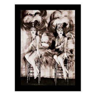 Twin Showgirls in Feathers