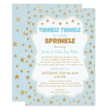 Twinkle Baby Sprinkle blue gold stars invitations