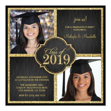 Twins! Elegant Black & Gold Glitter Class of 2019 Invitation