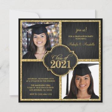 Twins! Elegant Black & Gold Glitter Class of 2021 Invitation