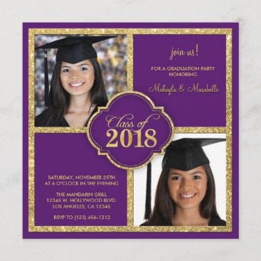 Twins Elegant Black & Purple Glitter Class of 2018 Invitation