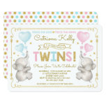 TWINS Elephant Baby Shower Blue Pink Gold Invite