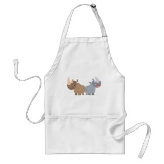 Two Cartoon Rhinos Cooking Apron apron