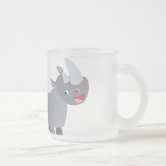 Two Cartoon Rhinos Frosted Glass Mug mug