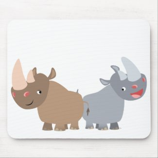 Two Cartoon Rhinos Mousepad mousepad