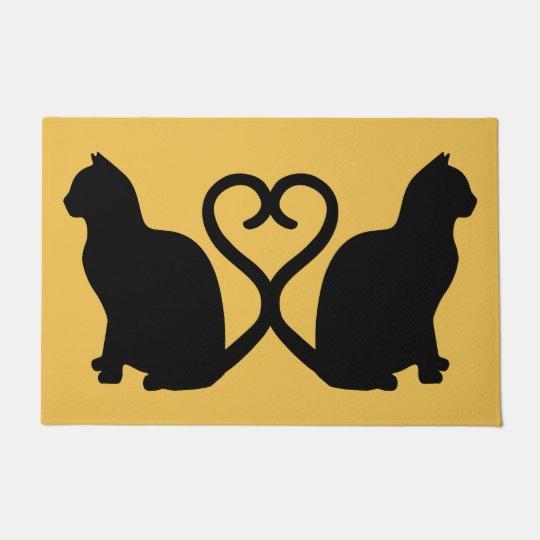 Download Two Cats Heart Silhouette Doormat | Zazzle.com