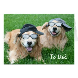 Two Cool Golden Retrievers Father's Day Greeting Card
