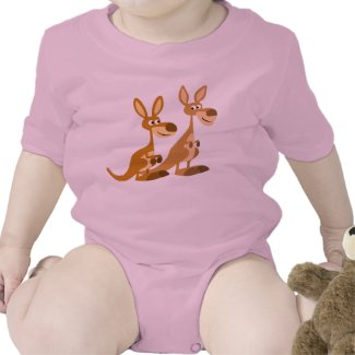 Two Cute Cartoon Kangaroos Baby shirt