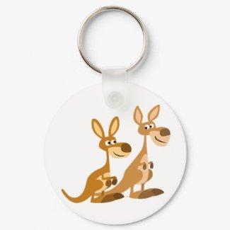 Two Cute Cartoon Kangaroos Keychain keychain
