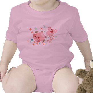 Two Cute Cartoon Pigs in Spring Baby Clothing shirt
