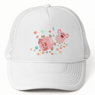 Two Cute Cartoon Pigs in Spring Hat hat