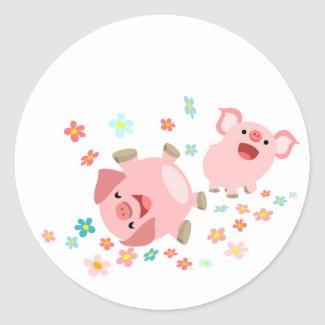 Two Cute Cartoon Pigs in Spring Sticker sticker