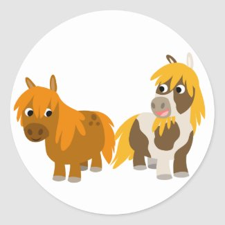 Two Cute Cartoon Ponies sticker sticker