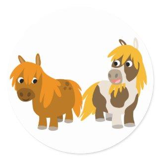 Two Cute Cartoon Ponies sticker sticker