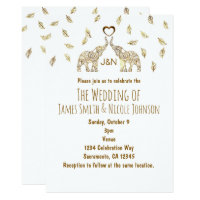 Two Elephants & Heart Gold Fall Wedding Invitation