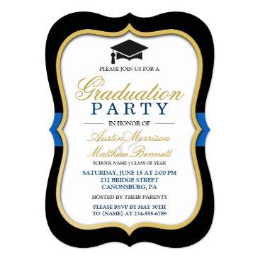 Two Grads - Gold Bracket Frame Graduation Party Card